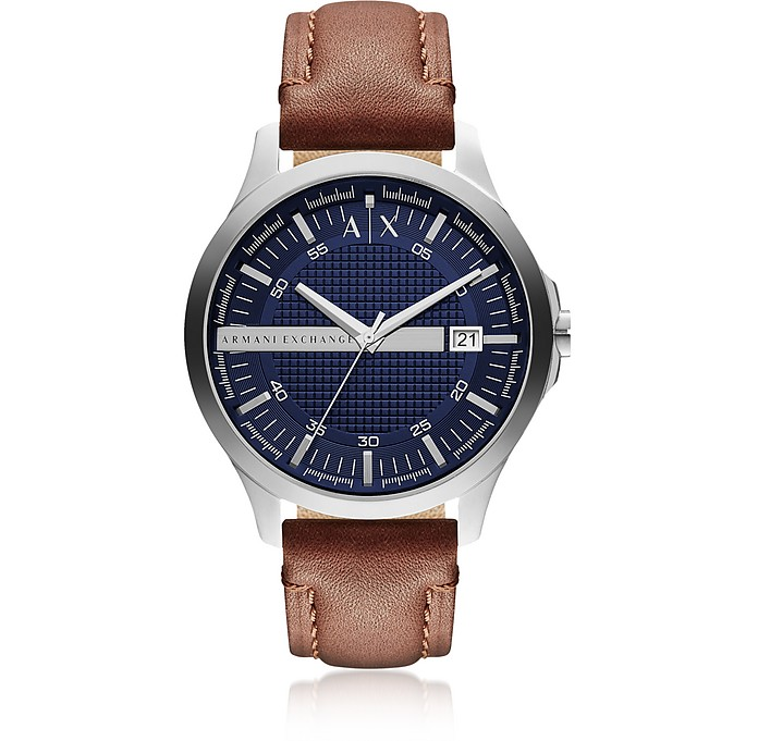 Hampton Brown Leather Men's Watch - Armani Exchange