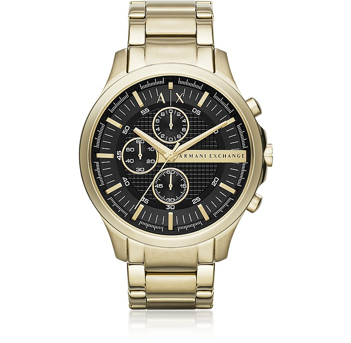 Hampton Gold Tone Black Dial Men's Watch - Armani Exchange