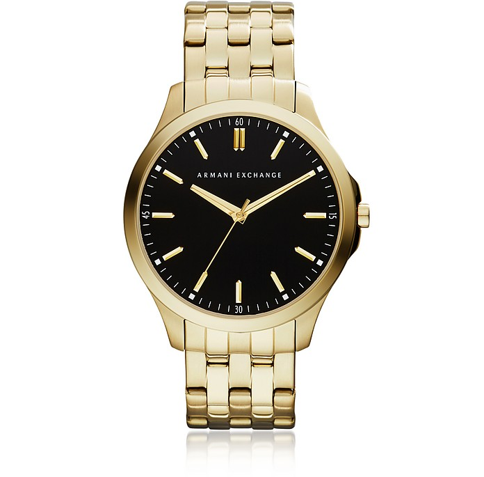 Hampton Black Dial Gold Tone Stainless Steel Men's Watch - Armani Exchange