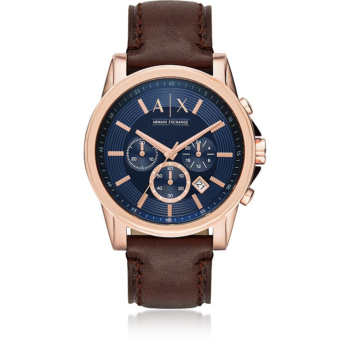 Outerbanks Rose Gold Tone and Brown Leather Men's Chronograph Watch - Armani Exchange