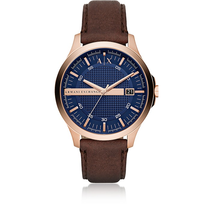 Hampton Rose Gold Tone with Brown Leather Men's Watch - Armani Exchange