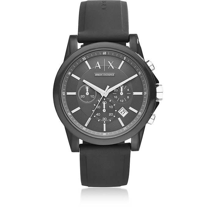 Outerbanks Black Silicone Men's Chronograph Watch - Armani Exchange