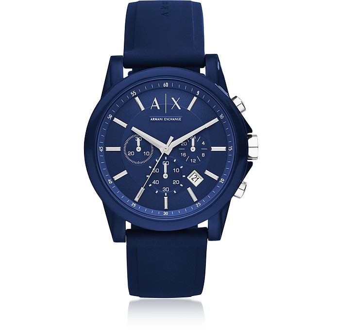 ff0e2c8f98e7 Armani Exchange Outerbanks Blue Silicone Men s Chronograph Watch at ...