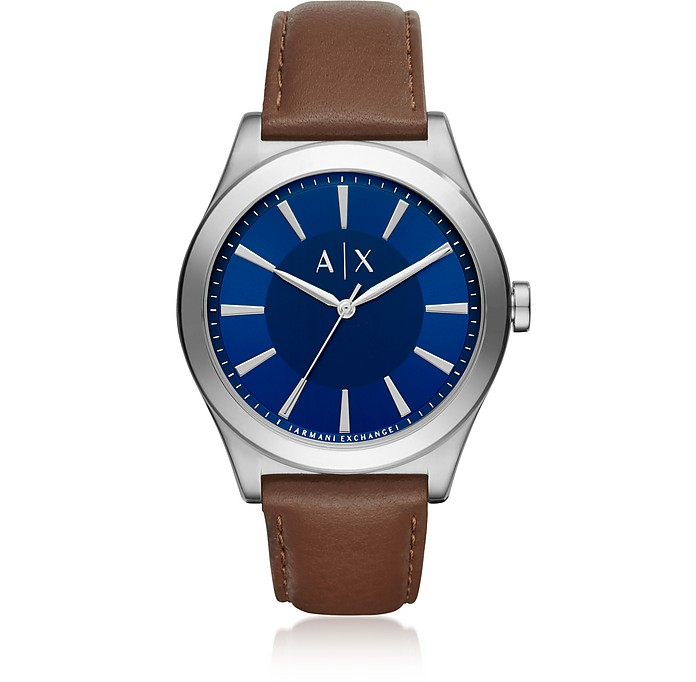 Nico Blue Dial and Brown Leather Men's Watch - Armani Exchange