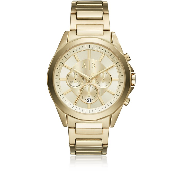 Drexler Gold Dial with Gold Tone Stainless Steel Men's Chronograph Watch - Armani Exchange