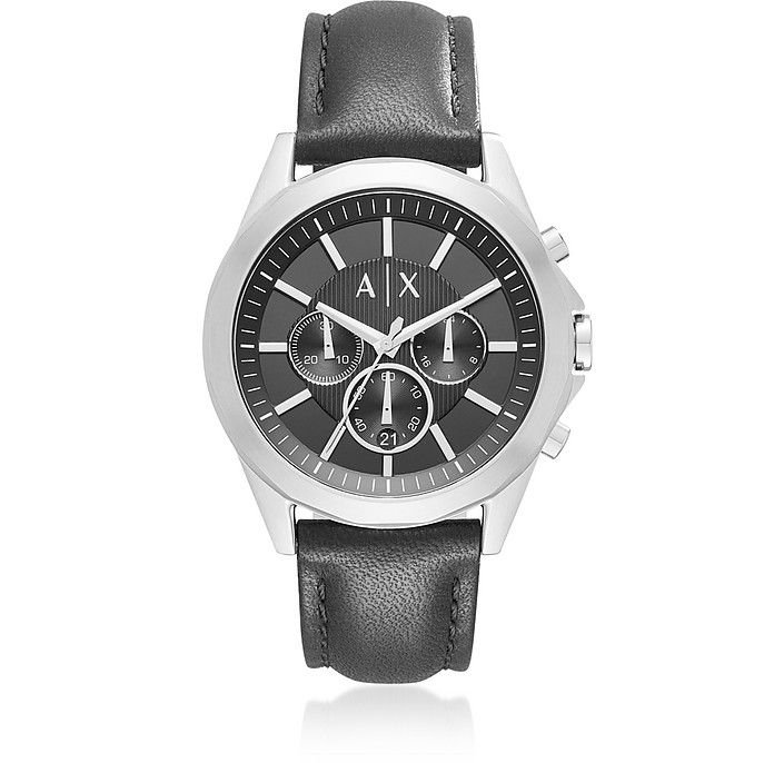 Drexler Black Dial with Black Leather Men's Chronograph Watch - Armani Exchange