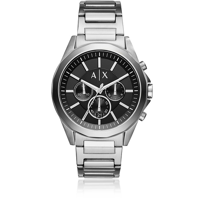 Drexler Black Dial and Silver Tone Men's Chronograph Watch - Armani Exchange