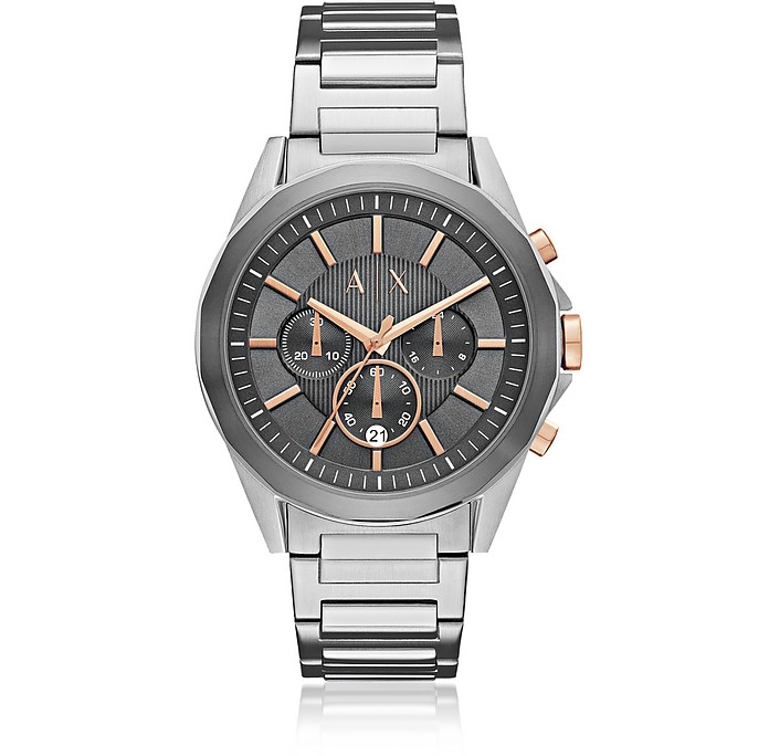 Drexler Grey Dial and Silver Tone Stainless Steel Men's Chronograph Watch - Armani Exchange