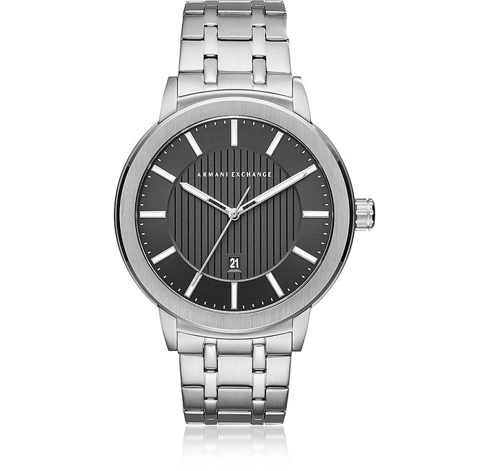 Maddox Black Dial and Silver Tone Stainless Steel Men's Watch - Armani Exchange
