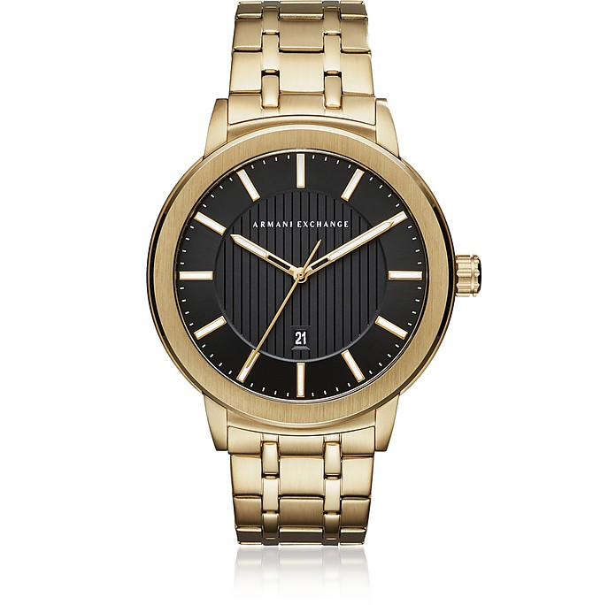 Maddox Black Dial and Gold Tone Stainless Steel Men's Watch - Armani Exchange
