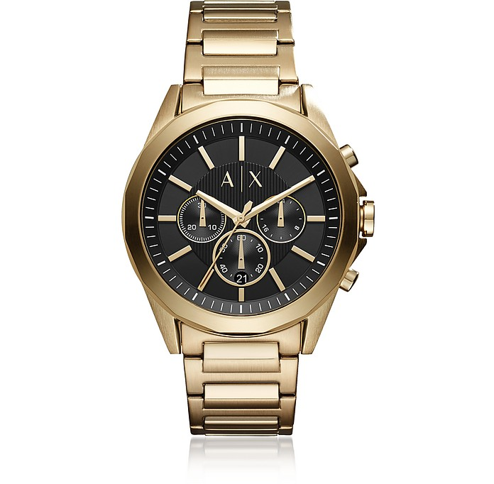 Drexler Black Dial and Gold Tone Stainless Steel Men's Chronograph Watch - Armani Exchange