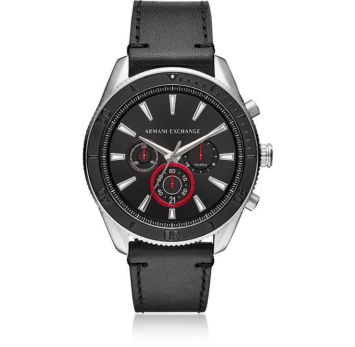 AIX Black Dial and Black Leather Men's Chronograph Watch - Armani Exchange