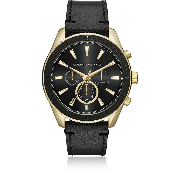 AIX Gold Tone and Black Leather Men's Chronograph Watch - Armani Exchange
