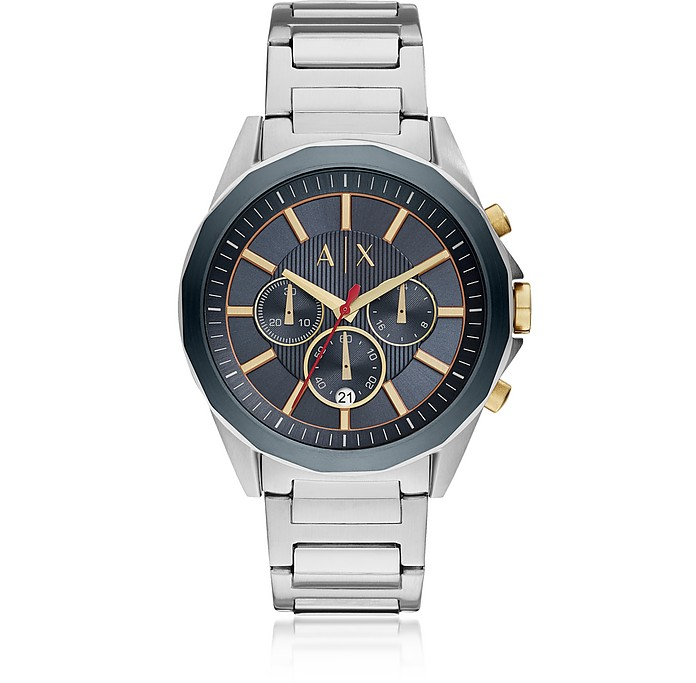 AIX Blue Dial and Silver Tone Men's Chronograph Watch - Armani Exchange