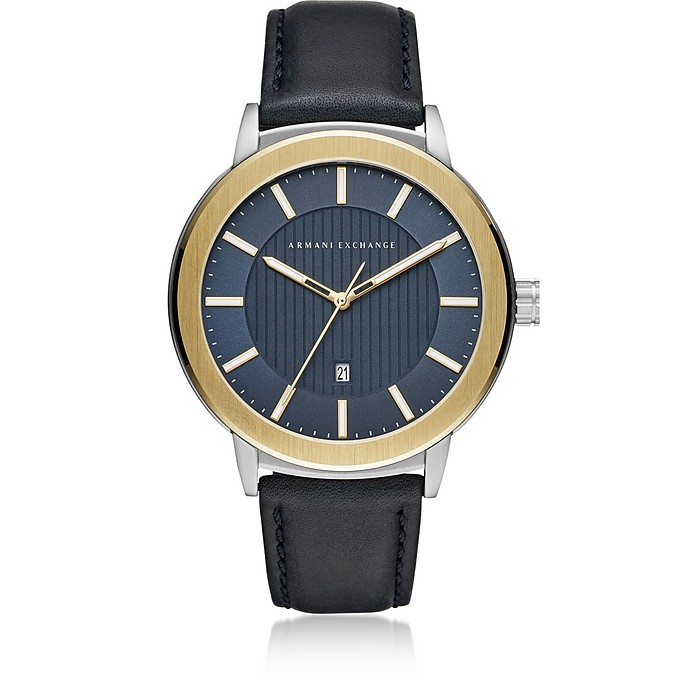 AIX Blue Dial and Blue Leather Men's Watch - Armani Exchange