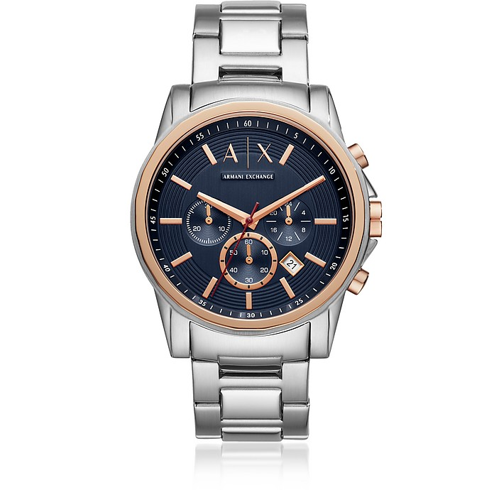 Outerbanks Blue Dial and Silver Tone Men's Chronograph Watch - Armani Exchange