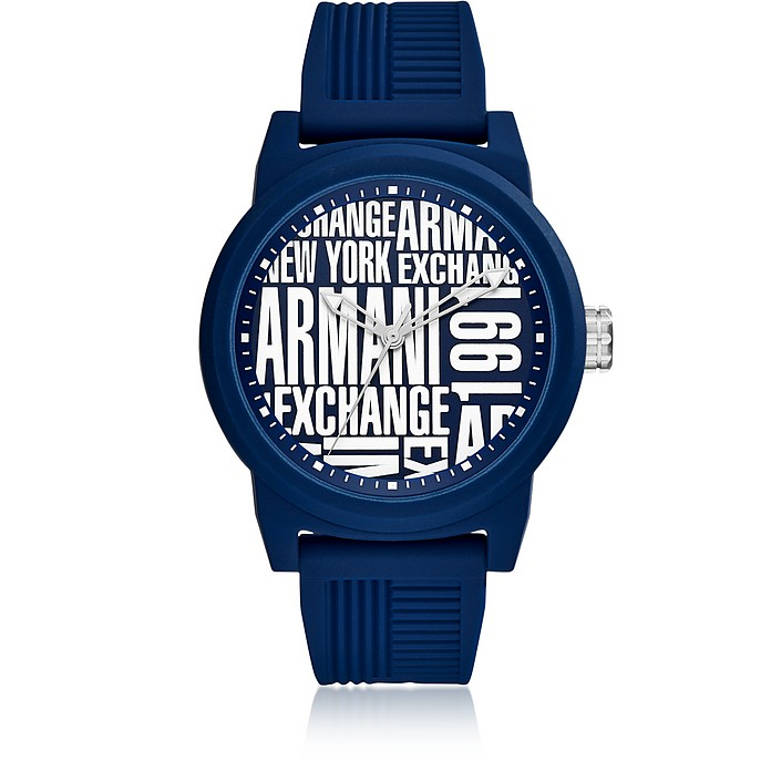 Atlc Blue Silicone Men's Watch - Armani Exchange