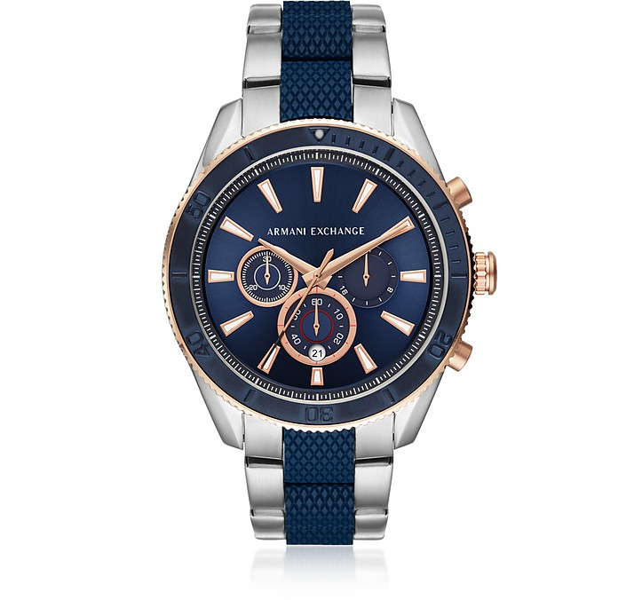 Enzo Blue Dial and Silver Tone Men's Chronograph Watch - Armani Exchange