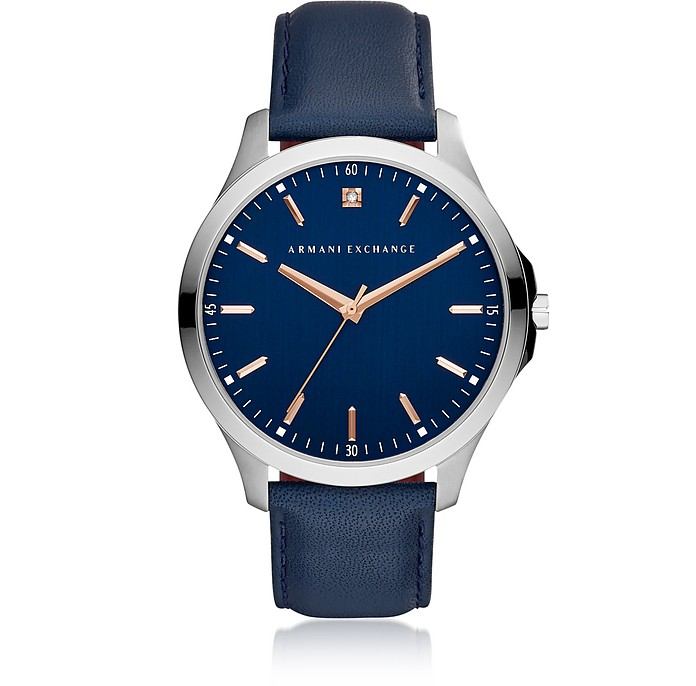 Hampton Blue Dial and Blue Leather Men's Watch - Armani Exchange