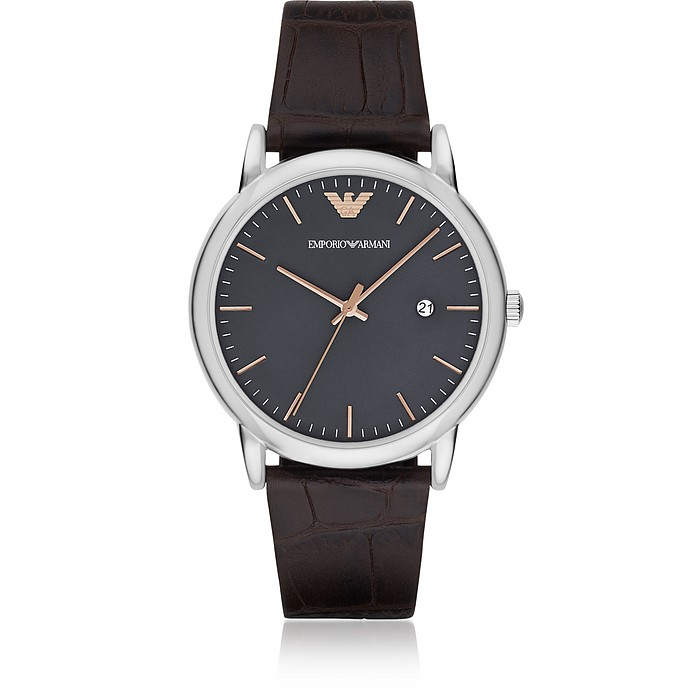 Luigi Stainless Steel and Croco Embossed Brown Leather Men's Watch - Emporio Armani