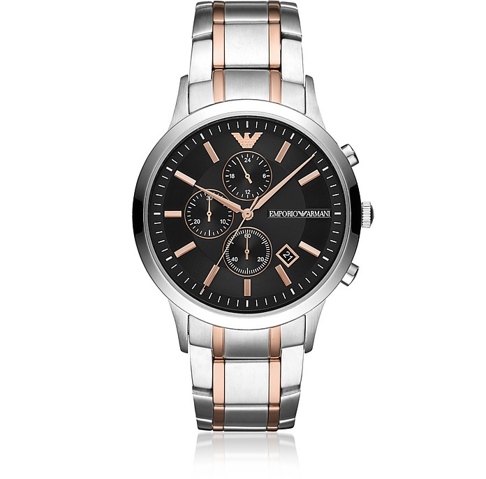 Renato Stainless Steel and Rose Gold 3-Chain Strap Chronograph Men's Watch - Emporio Armani