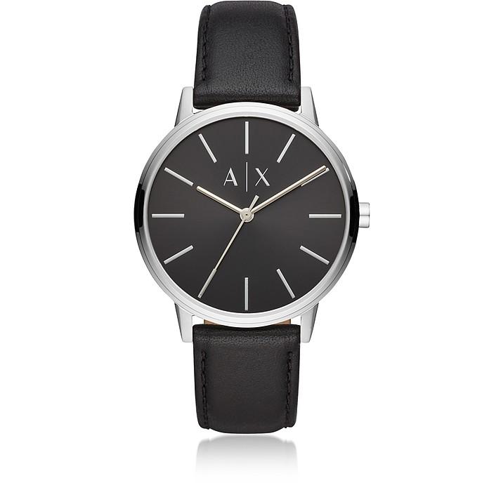 Cayde Minimalist Black Leather Men's Watch - Emporio Armani