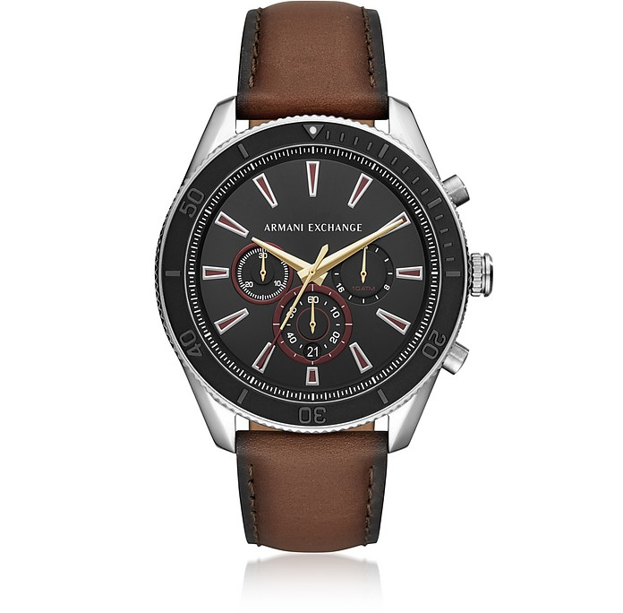Enzo Silver Tone and Burnished Leather Chronograph Men's Watch - Emporio Armani