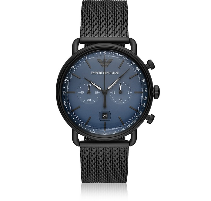 Aviator Black Mesh Chronograph Men's Watch - Emporio Armani