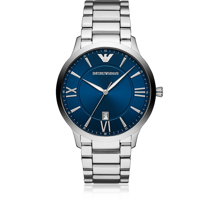 Emporio Armani Giovanni Three Hand Stainless Steel Watch In Silver