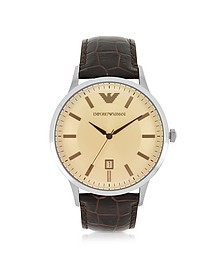 Stainless Steel Men's Watch w/Embossed Leather Strap - Emporio Armani