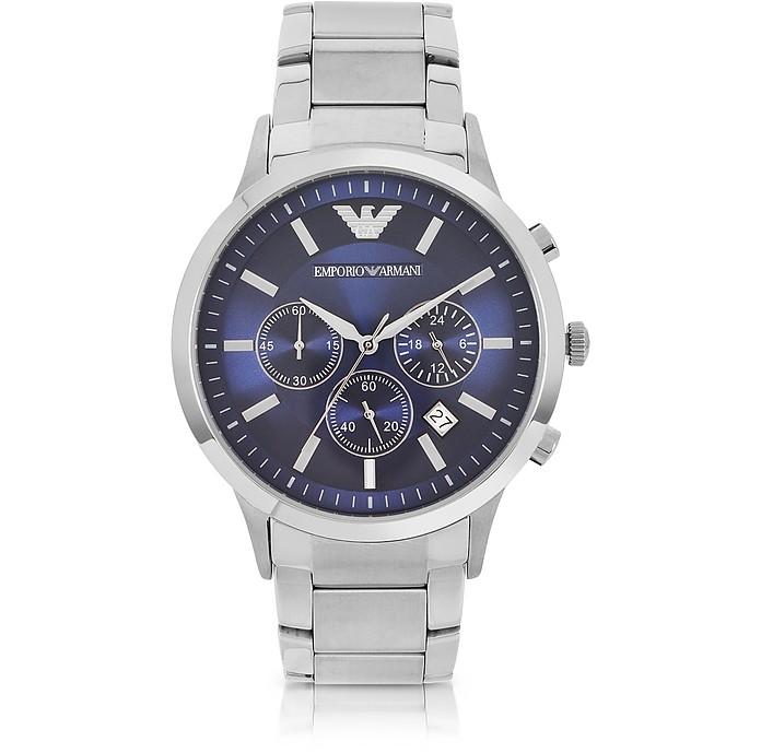 Reloj Crónografo para Hombre de Acero con Caja Azul - Emporio Armani