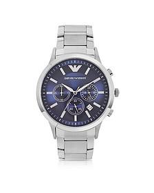 Men's Blue Dial Stainless Steel Chrono Watch - Emporio Armani