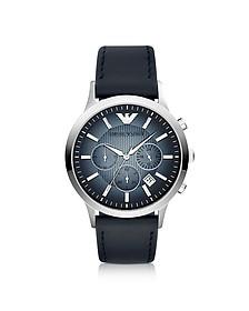 Chronograph Leather Band Men's Watch - Emporio Armani