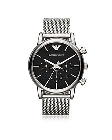 Stainless Steel Black Dial Men's Watch w/Mesh Band - Emporio Armani