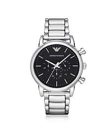 Silvertone Stainless Steel Men's Watch w/Black Dial - Emporio Armani