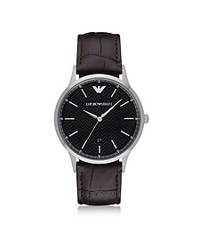 Black Dial Stainless Steel Men's Watch w/Leather Strap - Emporio Armani