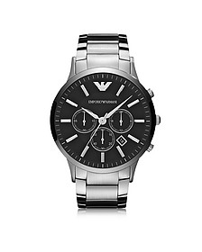 Silver Tone Stainless Steel Men's Watch w/Black Dial - Emporio Armani