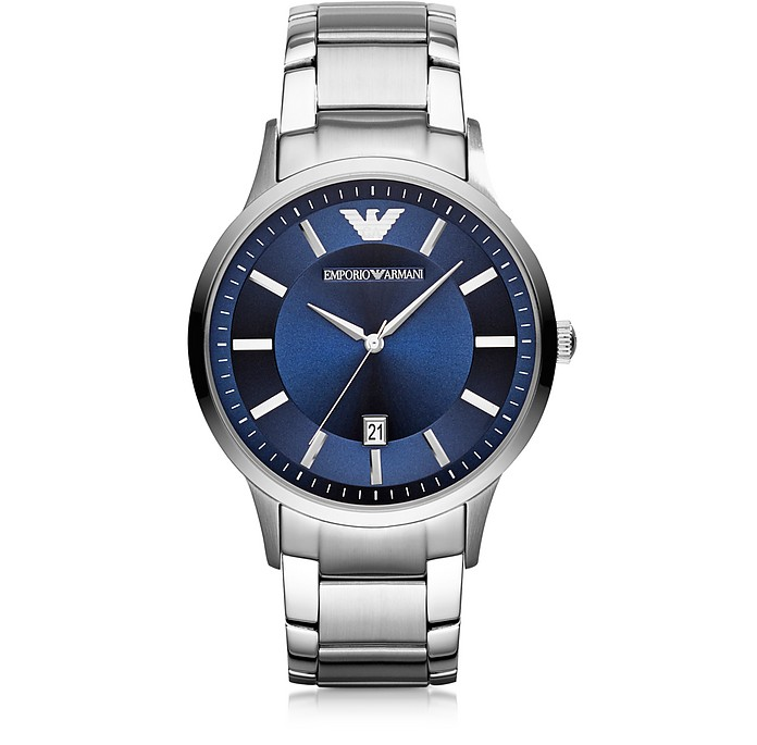 Silver Tone Stainless Steel Men's Watch w/Blue Dial - Emporio Armani