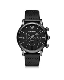 Black Stainless Steel & Leather Men's Watch - Emporio Armani