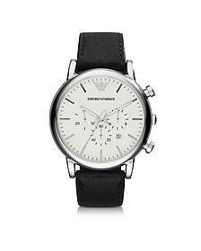 Silver Tone Stainless Steel & Black Leather Strap Men's Watch - Emporio Armani