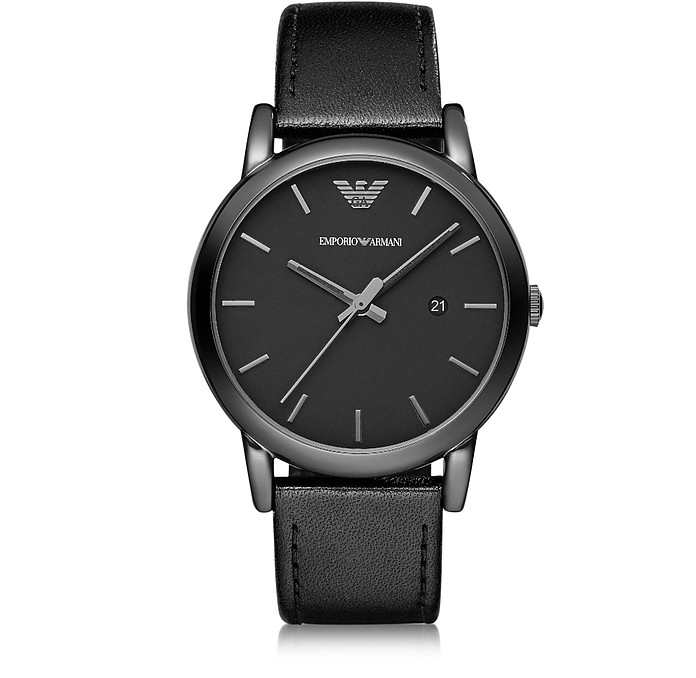 Polished Black Stainless Steel Men's Watch w/Smooth Leather Strap  - Emporio Armani