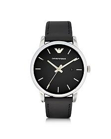 Signature Dial Men's Leather Strap Watch - Emporio Armani