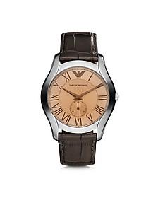 Steel Men's Watch w/Croco strap - Emporio Armani