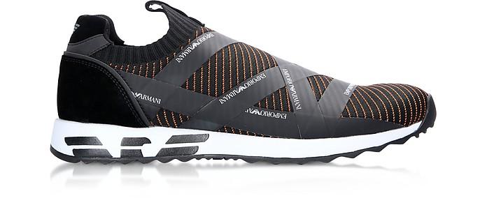Black/Mandarin Signature Nylon Slip-on Men's Sneakers - Emporio Armani