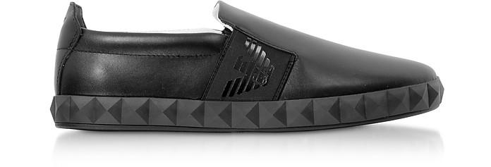 Black Leather Slip-on Men's Sneakers - Emporio Armani