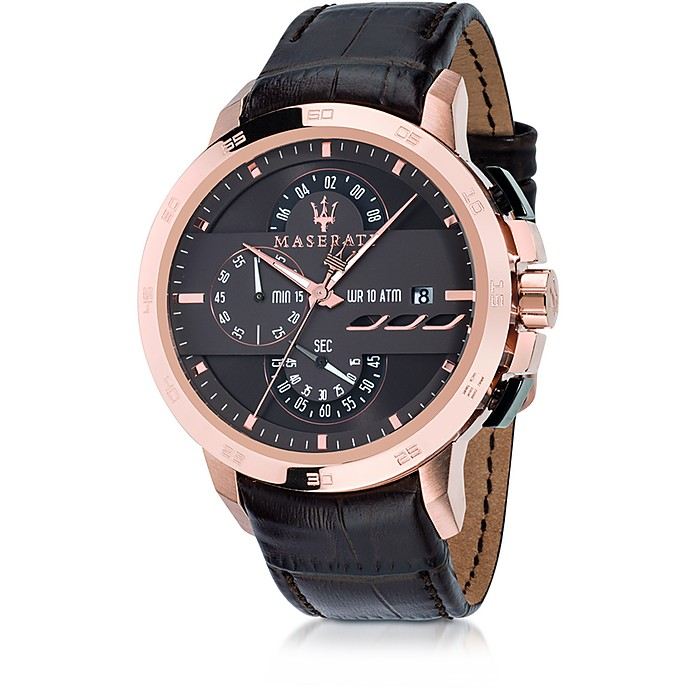 Ingegno Rose Gold Tone Stainless Steel Case and Brown Embossed Leather Strap Men's Chrono Watch - Maserati