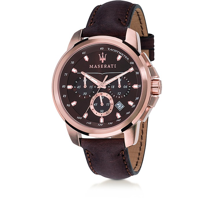 Successo Rose Gold Tone Stainless Steel Case and Brown Leather Men's Chrono Watch - Maserati