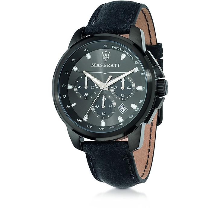 Successo Herrenuhr mit Chronograph aus Edelstahl in schwarz mit Lederarmband - Maserati