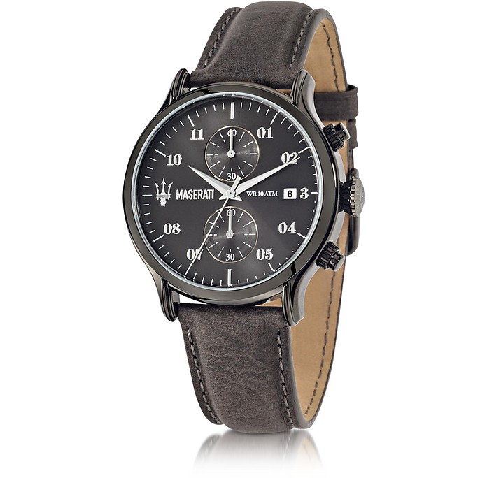 Epoca Chronograph Gray Dial and Leather Strap Men's Watch - Maserati