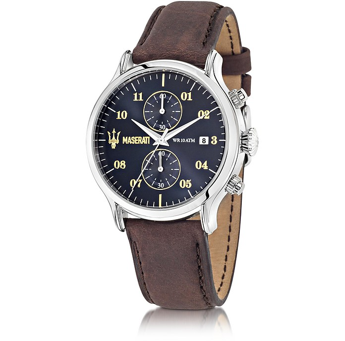 Epoca Chronograph Navy Blue Dial and Brown Leather Strap Men's Watch - Maserati